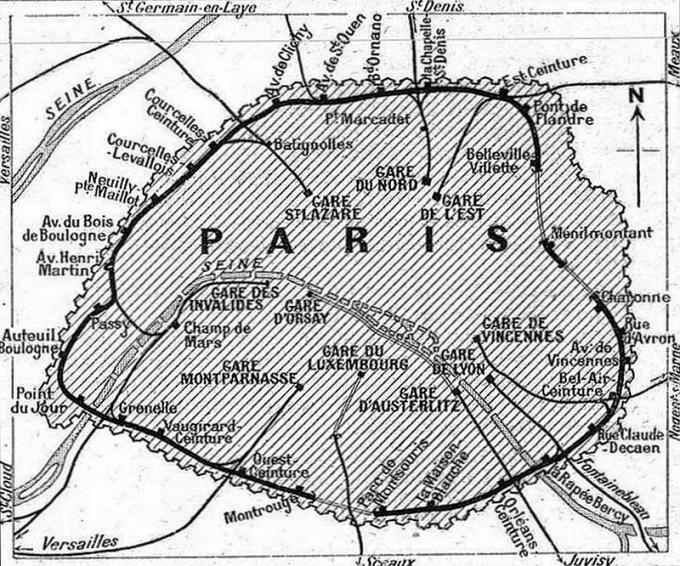 Carte de la Petite Ceinture au début du XXe siècle.