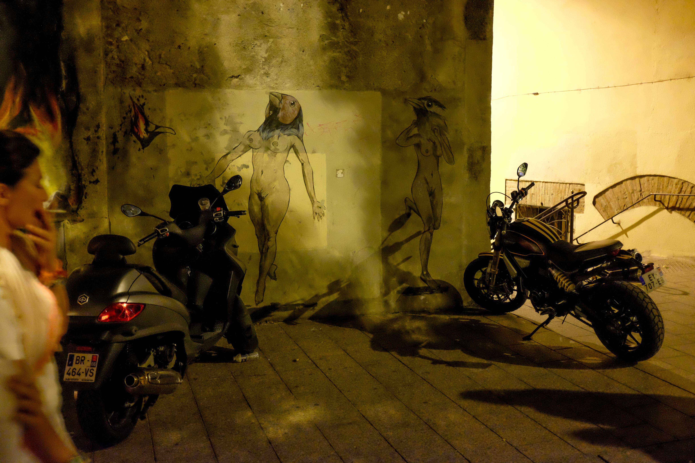 Perpignan la nuit, des collages de femmes-oiseau sur le mur